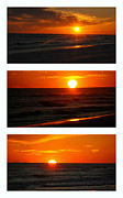 Beach Sunsets Posters - The Melting Sun  Poster by Susanne Van Hulst