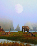 Perigee Moon Prints - The Menagerie . Painterly Print by Wingsdomain Art and Photography