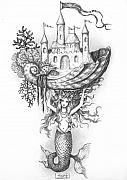 Pen Drawings Drawings Framed Prints - The Mermaid Fantasy Framed Print by Adam Zebediah Joseph