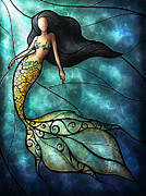 Seashells Digital Art Posters - The Mermaid Poster by Mandie Manzano