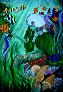 Mermaid Print On Canvas Framed Prints - The Mermaid Framed Print by Sylvie Heasman