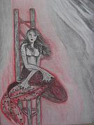 Fantasy Creatures Drawings Prints - The Mermaid Print by Theodora Dimitrijevic