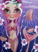 Surrealist Paintings - The Mermaids Garden by Jaz Higgins