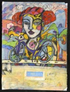 Cycling Drawings Framed Prints - the Messenger Framed Print by Mykul Anjelo