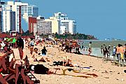Sunbathing Prints - The Miami Beach Print by David Lee Thompson