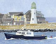 New England Lighthouse Paintings - The Michael Brandon by Dominic White