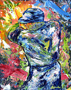 Palette Knife Texture Posters - The Mick Mickey Mantle Poster by Ash Hussein
