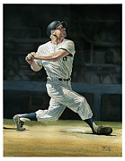 Yankees Painting Prints - The Mick Print by Rich Marks