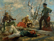 Marine Posters - The Midday Rest Sailors Yarning Poster by Henry Scott Tuke