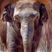 Elephant Mixed Media Posters - The Mighty One Poster by Carol Cavalaris