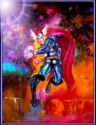 Avengers Painting Originals - The Mighty Thor by Leland Castro