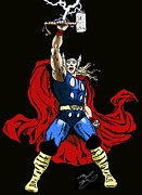 Thor Drawings Metal Prints - The Mighty Thor Metal Print by Michael Dijamco