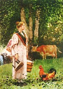 Country Life Painting Metal Prints - The Milk Maid Metal Print by Pg Reproductions