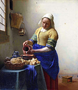 Jan Vermeer Prints - The Milkmaid Print by Johannes Vermeer