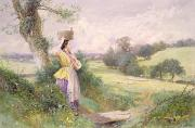 Farm Fields Paintings - The Milkmaid by Myles Birket Foster