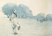Pencil Sketch Prints - The Milkmaid Print by Winslow Homer