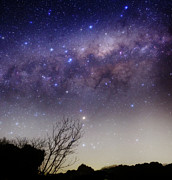 Bare Trees Prints - The Milky Way Above A Rural Landscape Print by Luis Argerich