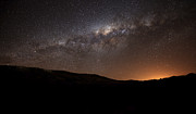 Celestial Tapestries Textiles - The Milky Way Setting Behind The Hills by Luis Argerich