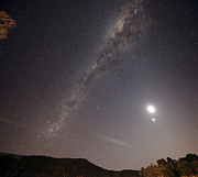Astrology Photos - The Milky Way, The Moon And Venus by Luis Argerich