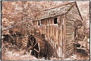 Waterwheel Posters - The Mill at Cades Cove Poster by Debra and Dave Vanderlaan