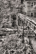 Sawmill Prints - The Mill in Black and White Print by JC Findley