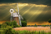 Sun Beams Prints - The Mill On The Marsh Print by Meirion Matthias