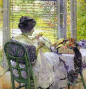 Stitching Paintings - The Milliner by Richard Edward Miller