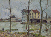 Factories Painting Posters - The Mills at Moret sur Loing Poster by Alfred Sisley