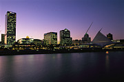 Commercial Structures Framed Prints - The Milwaukee Skyline At Twilight Framed Print by Medford Taylor