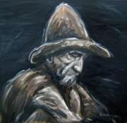 Monotone Paintings - The miner by Ben Van Rooyen
