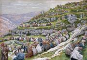 New Testament Prints - The Miracle of the Loaves and Fishes Print by Tissot