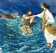 Fishing Painting Posters - The Miracles of Jesus Walking on Water  Poster by Clive Uptton