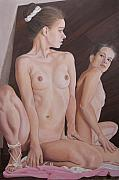 Nudes Painting Originals - The Mirror by Kenneth Kelsoe