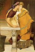 Just Lovers Prints - The Mirror Print by Sir Lawrence Alma-Tadema