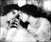 Girl Touching Her Mirror Image Digital Art - The mirror twin by Gun Legler