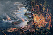 Currier And Ives Paintings - The Mississippi in Time of War by Frances Flora Bond Palmer