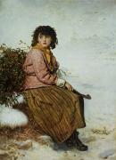 Female Worker Prints - The Mistletoe Gatherer Print by Sir John Everett Millais