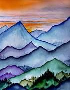Maine Artist Paintings - The Misty Mountains by Brenda Owen