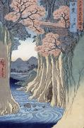 Woodblock Posters - The monkey bridge in the Kai province Poster by Hiroshige