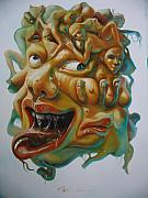 Green Monster Paintings - The Monster Head 2 by SiamArtist Gallery