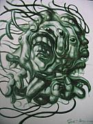 Oil On Canvas Drawings - The Monster Head by SiamArtist Gallery