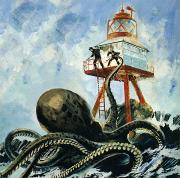 Tentacles Paintings - The monster of Serrana Cay by Graham Coton