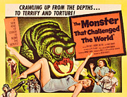 1950s Poster Art Framed Prints - The Monster That Challenged The World Framed Print by Everett
