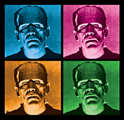 Warhol Digital Art Posters - The Monster x 4 Poster by Gary Grayson