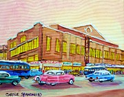 Montreal Streetscenes Painting Prints - The Montreal Forum Print by Carole Spandau
