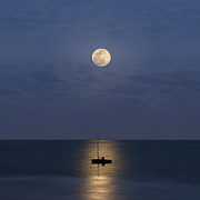 Horizon Over Water Metal Prints - The Moon Guide Us Metal Print by Carlos Gotay