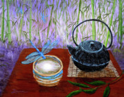 Visionary Art Painting Prints - The Moon in a Teacup Print by Laura Iverson