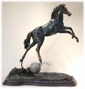 Western Sculpture Posters - The Moonhorse Bronze Poster by Dawn Senior-Trask