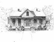 Historic Home Drawings Metal Prints - The Moore House Metal Print by Barney Hedrick