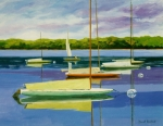Waterscape Painting Metal Prints - The Moorings Metal Print by David Rickert
